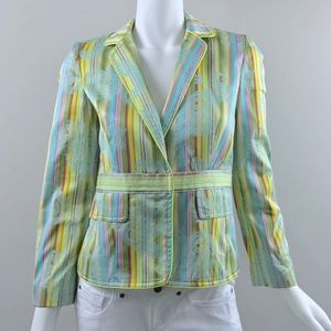 {Cynthia Steffe} Colorful Striped Paisley Blazer
